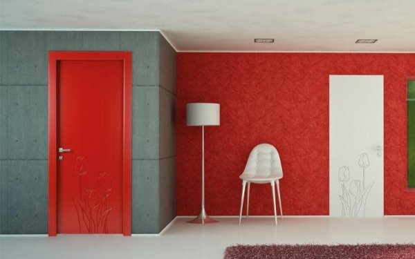 porta decorata rossa