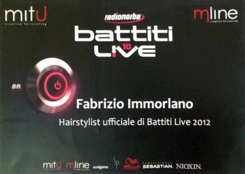 Fabrizio Immorlano - Hairstylist ufficiale di Battiti Live 2012