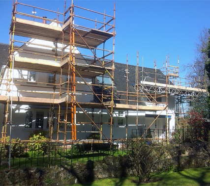 scaffold on a house