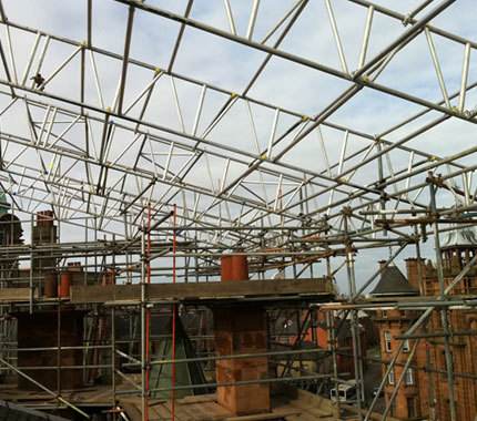 scaffolding around a roof