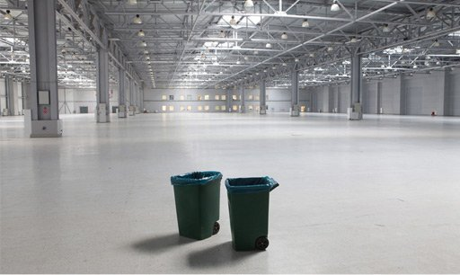 Wheelie bins in a warehouse