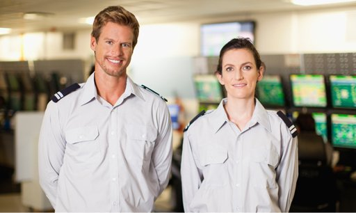 Male and female security guards