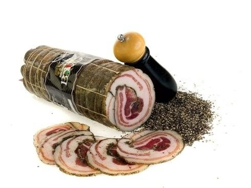 Rolled pancetta with black pepper