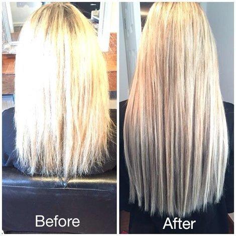 fully straightened hair