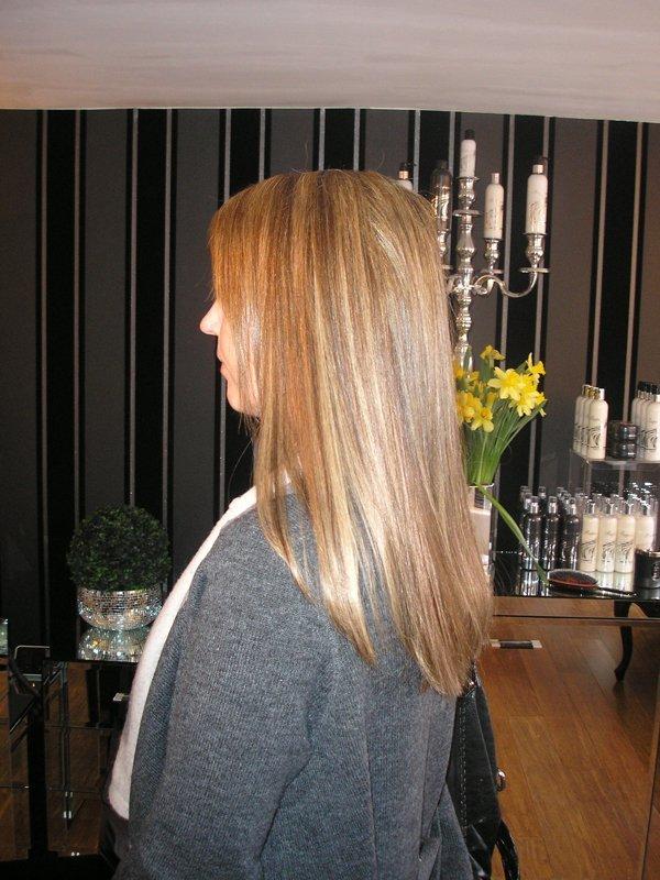 neatly straightened hair