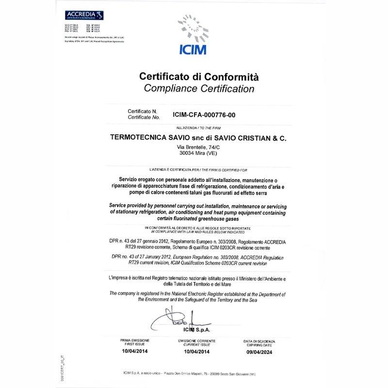 Certificazione di Termotecnica Savio a Mira Venezia