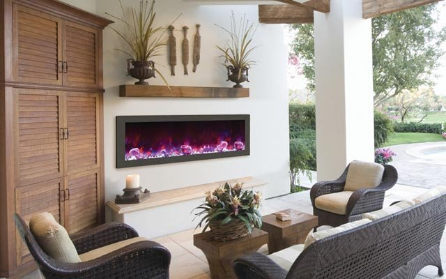Amanti Slim Indoor or Outdoor Electric Fireplace - Taylor's Hearth & Leisure - Long Island NY