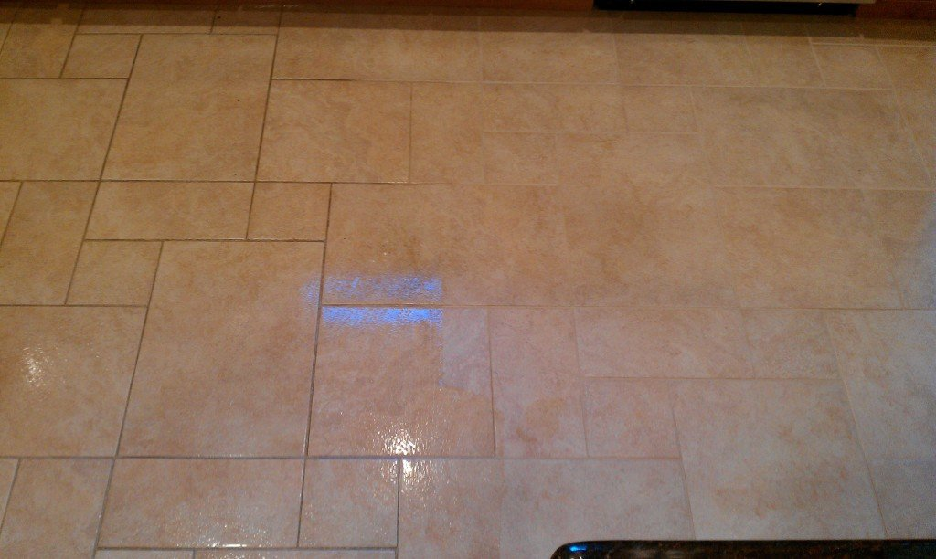 Commack tile and grout cleaning kitchen floor.