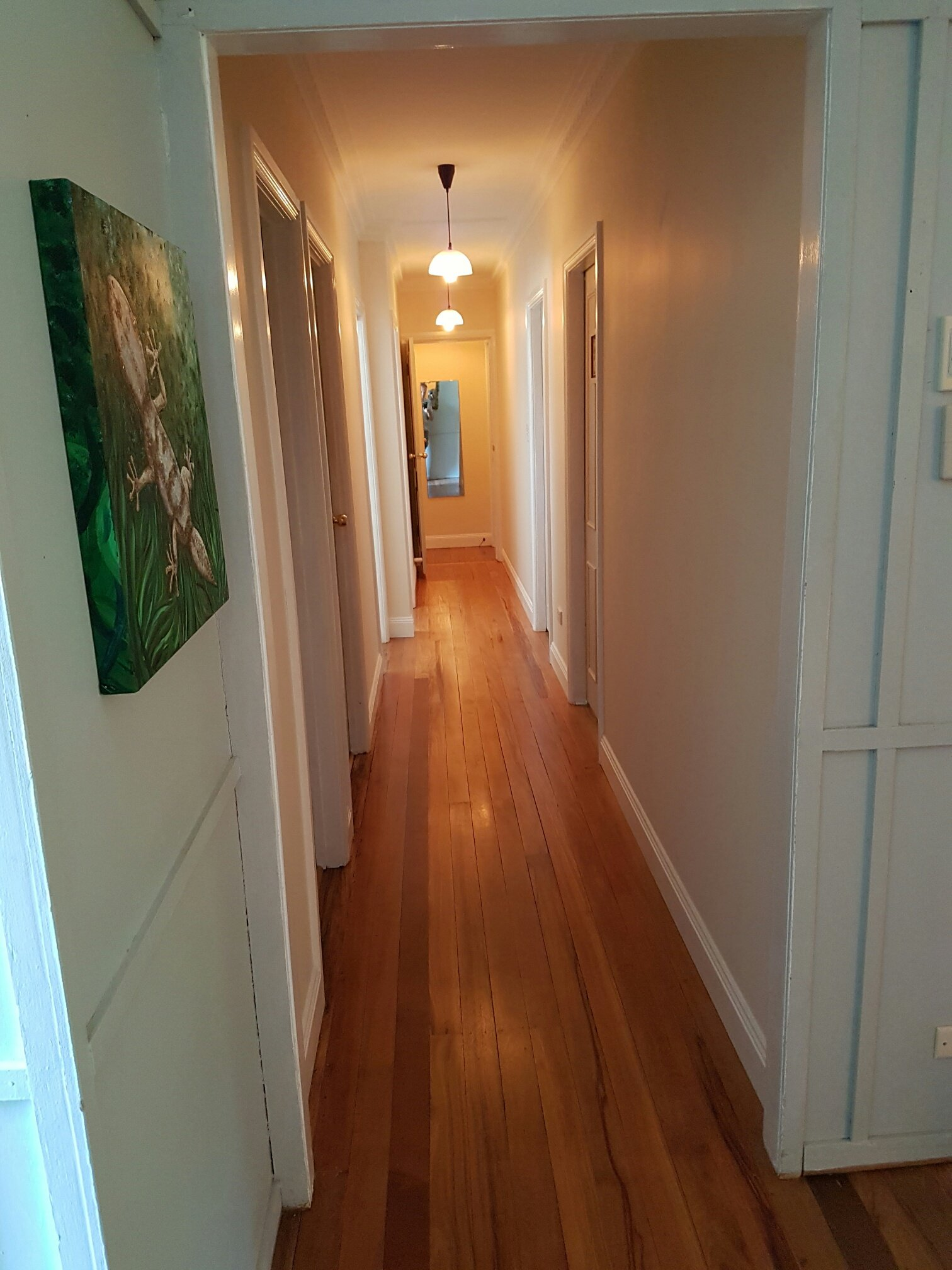 View of the hallway with wooden flooring