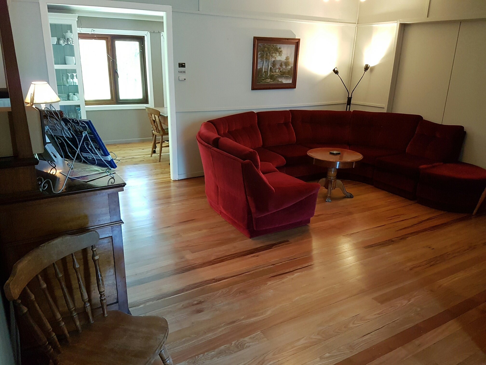 Wooden flooring in the lounge room