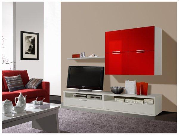 sala con arredamento in rosso