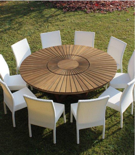 tavola rotonda con sedie bianche in esterno