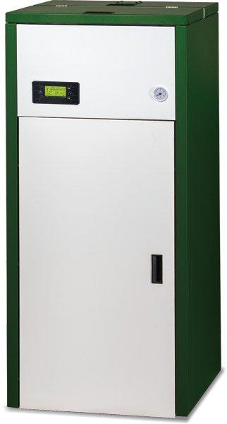 Cabina per l'impianto di riscaldamento automatico verde e bianca