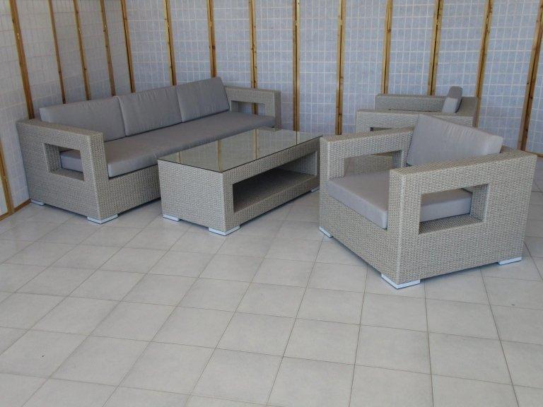 salotto grigio rattan sintetico esterno giardino