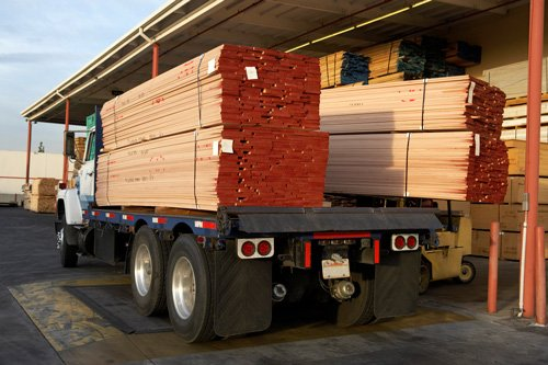timber on a truck