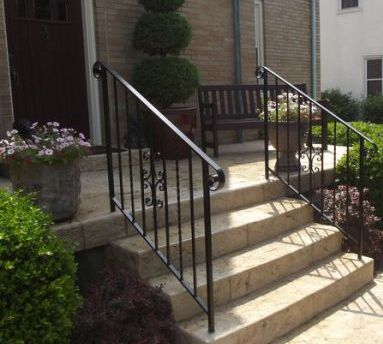 One of our iron stair railings in Cincinnati, OH
