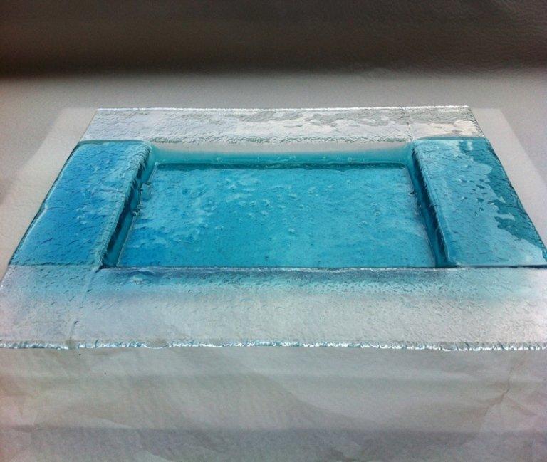 posacenere in cristallo azzurro