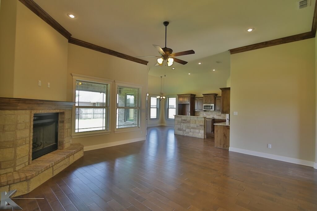 living room in a custom home built by Cornerstone Custom Homes in Abeline, TX