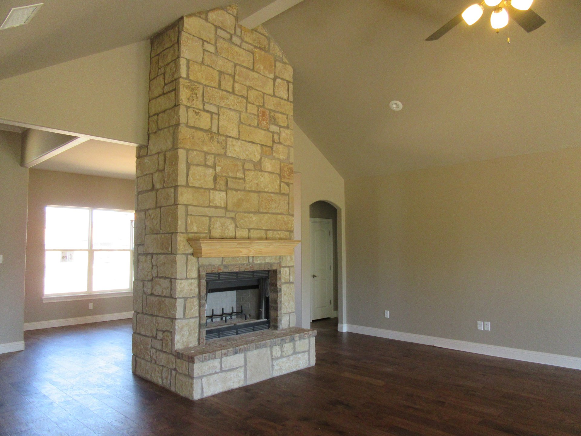 fireplace in living area of new home built by Cornerstone Custom Homes