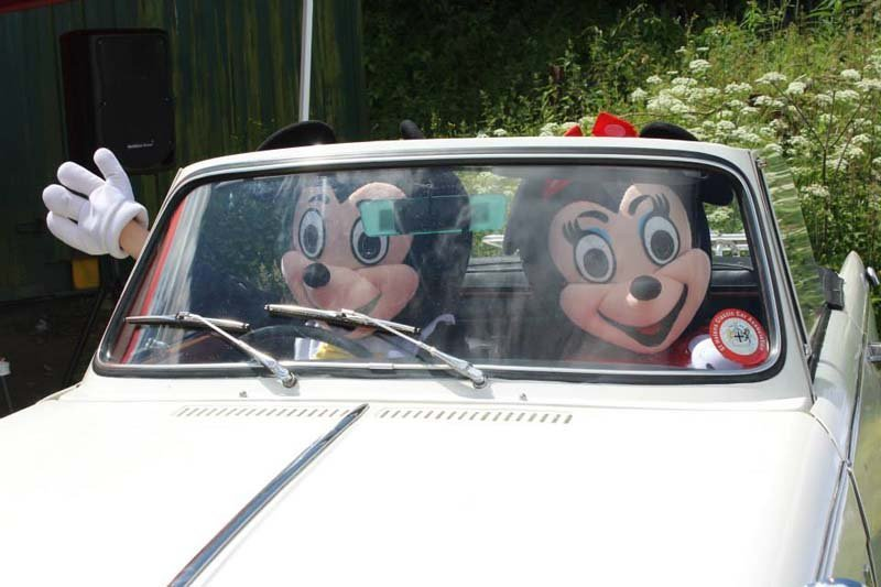 View of individuals dressed as cartoon characters driving  car
