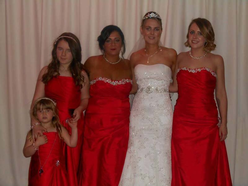 View of a bride with bridesmaid