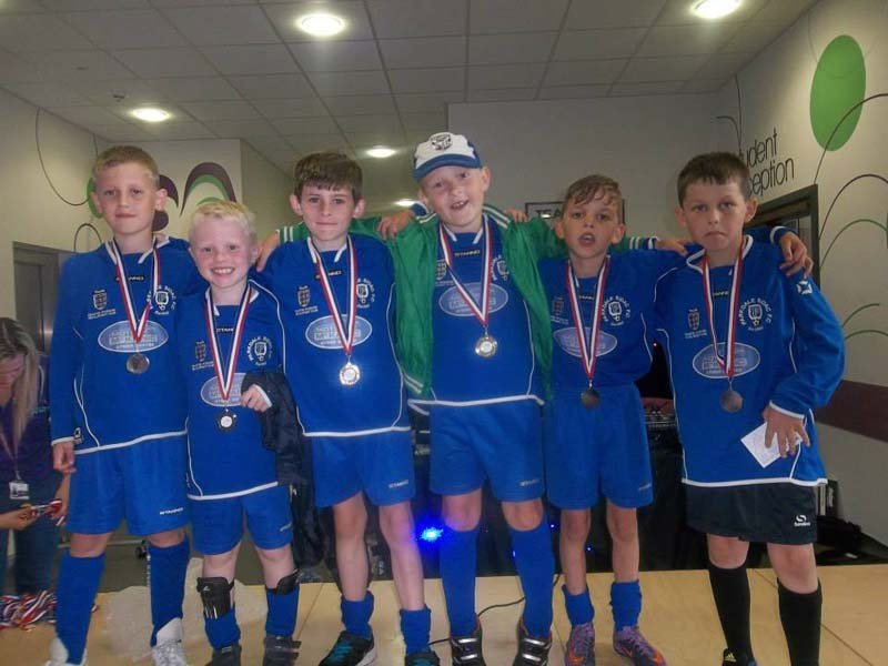 View of kids with medals