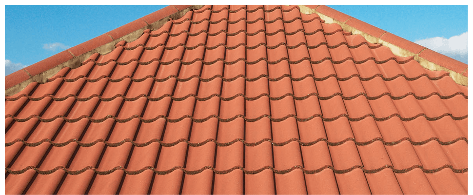 Newly completed tile roof on a house