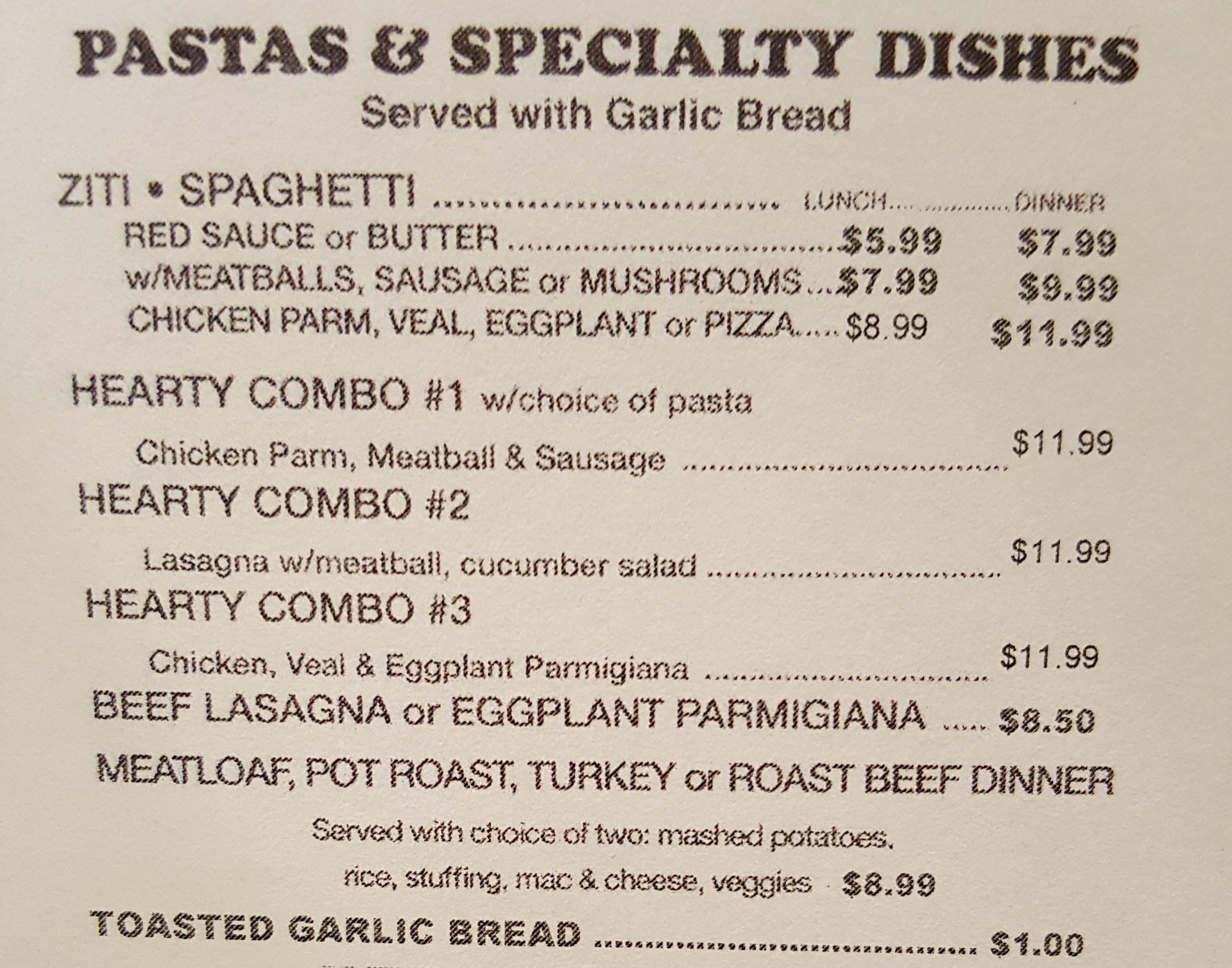 Pastas and Specialty Dishes