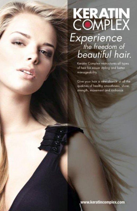 imagine di una modella con capelli biondi KERATIN COMPLEX