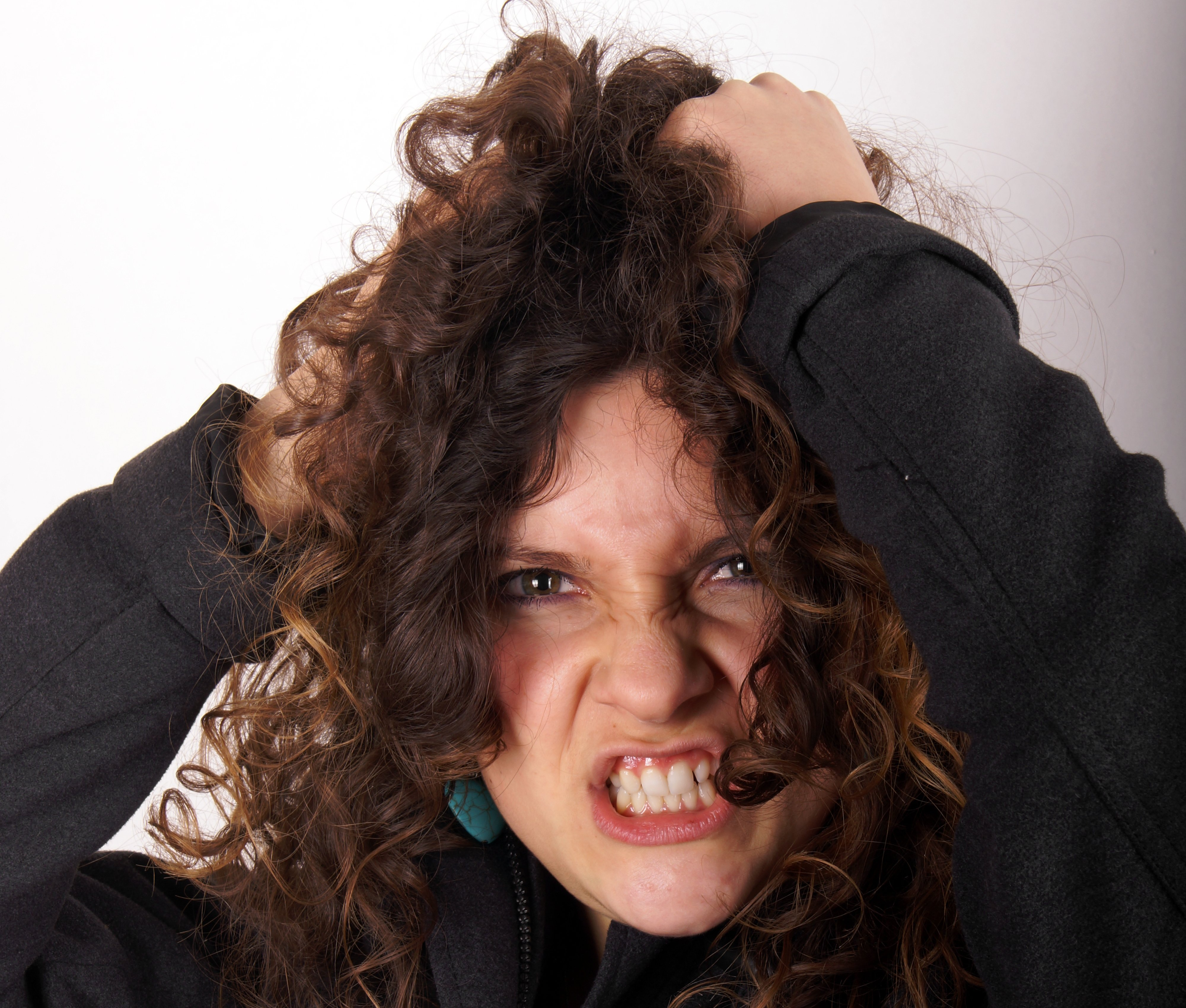 stress pulling hair woman angry pain