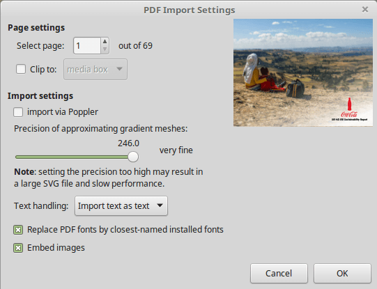 Importing a PDF in Inkscape