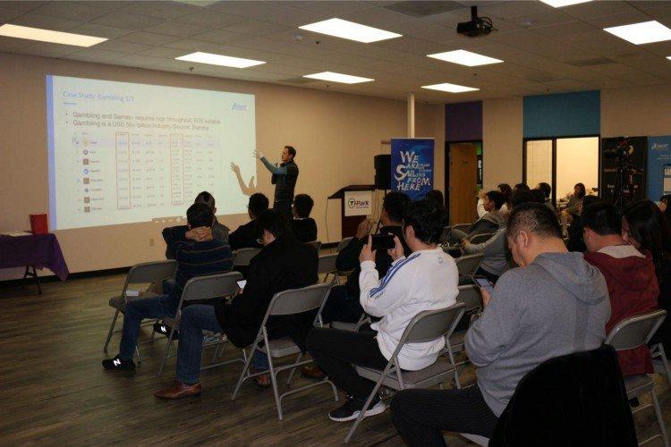 SWFT Blockchain CFO Alex Witt speaking to attendees
