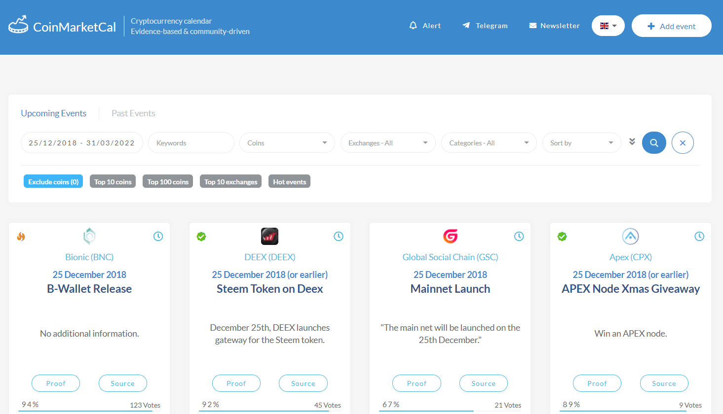 CoinMarketCal is the place where you check the upcoming events of a crypto project.