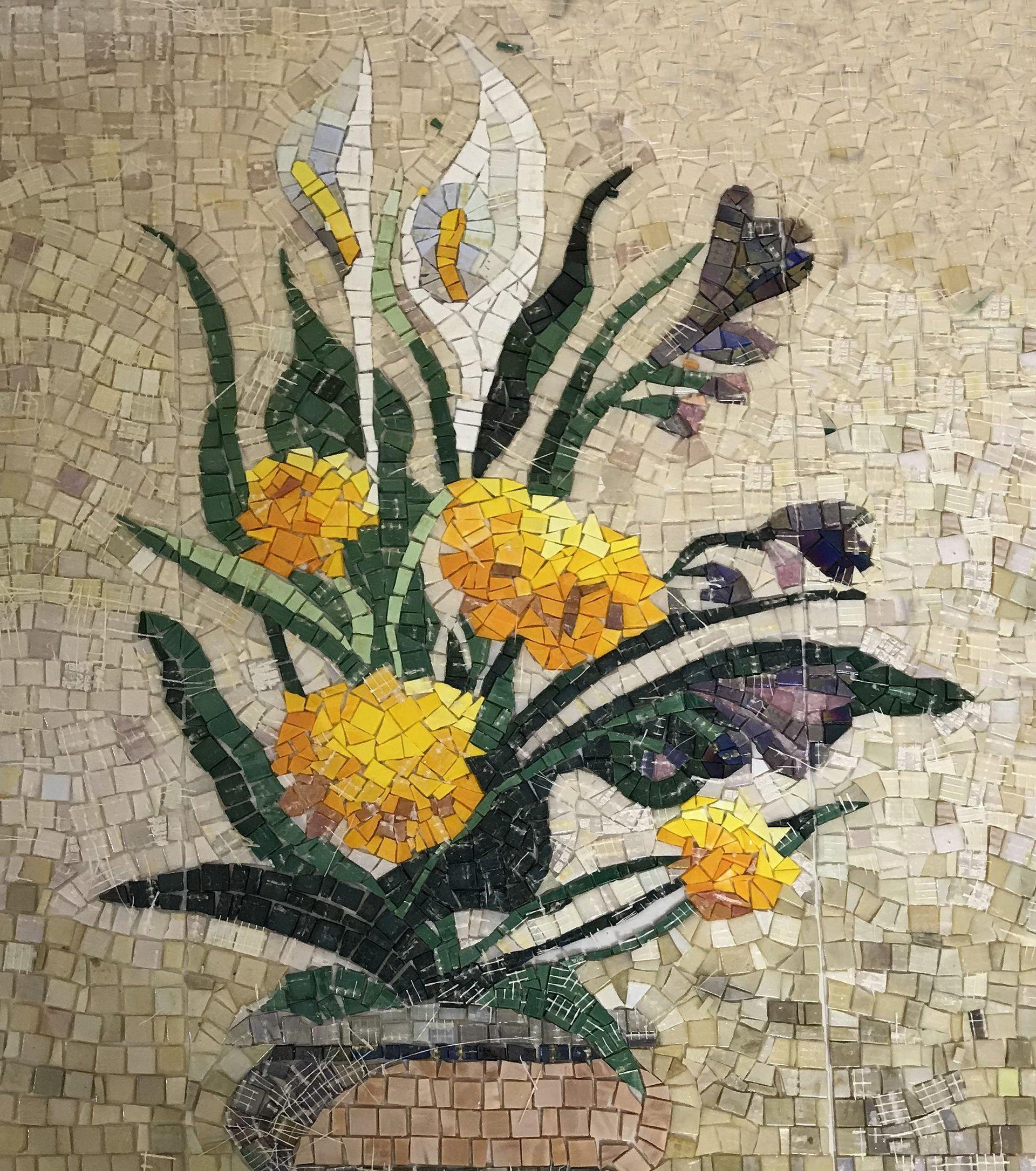 mosaico di fiori gialli