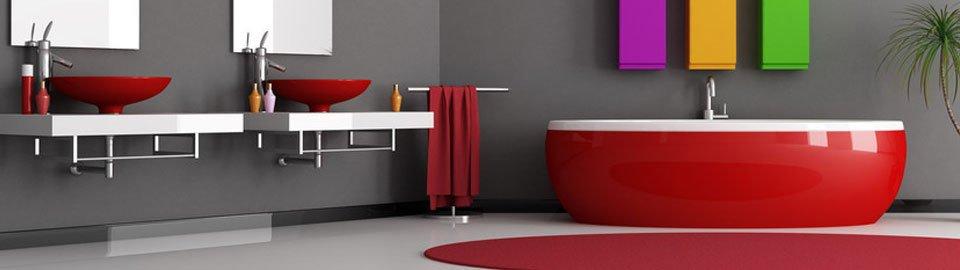 Red bathroom installations