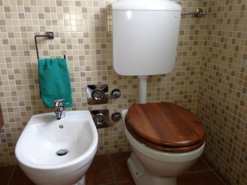 un bidet e un wc con l'asse di legno