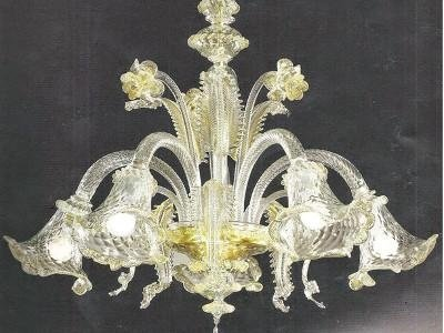 lampadario murano foglia oro