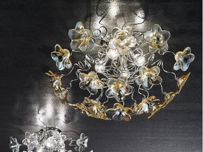 Plafoniera Fiori Bianca : Plafoniera fiori a di perline in vetro italia