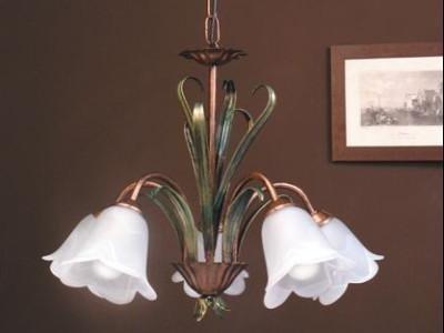lampadario ferro smaltato con vetri