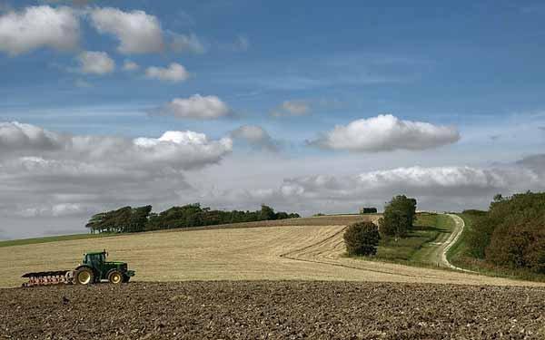 campo con un trattore