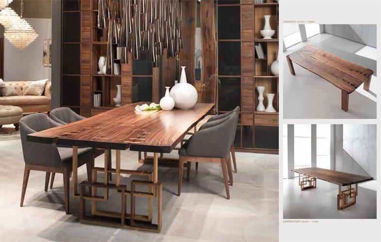 area living con tavolo rettangolare in legno