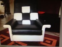 View of black and white upholstery for sofa chair