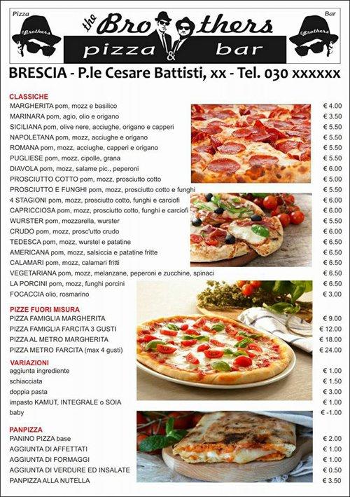 Menù della pizzeria Brothers Pizza
