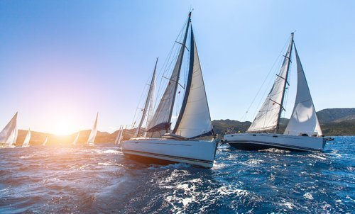 View of a sailing boats