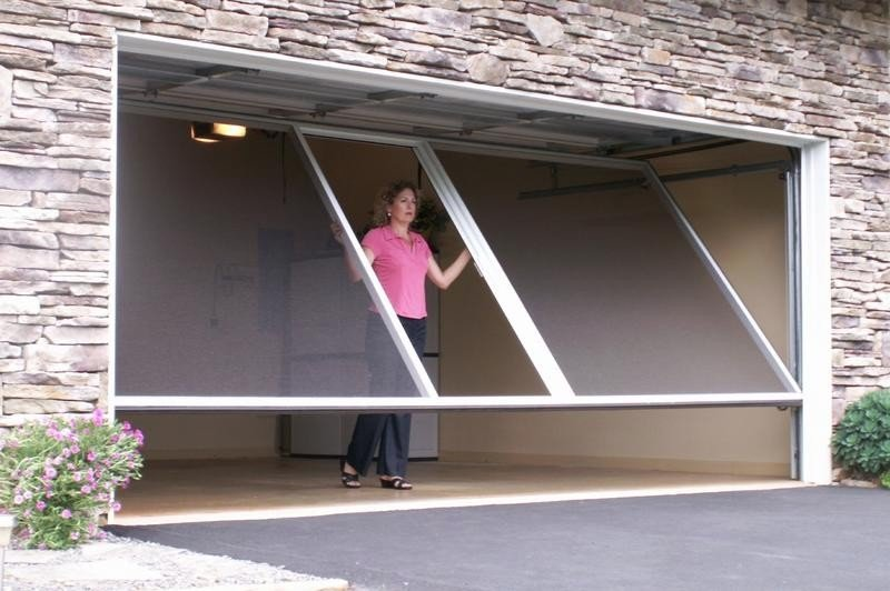 Enjoy a cool summer in your garage with a garage door screen for Garage screen door rollers
