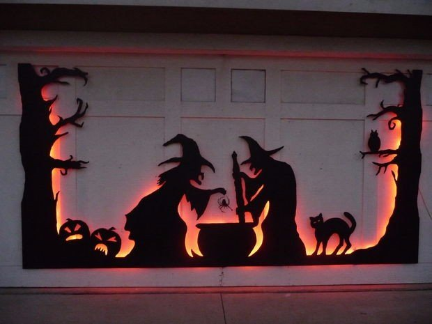 garage door, garage, Halloween
