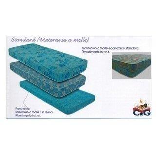 dei materassi di diverse dimensioni uno sopra l'altro azzurra