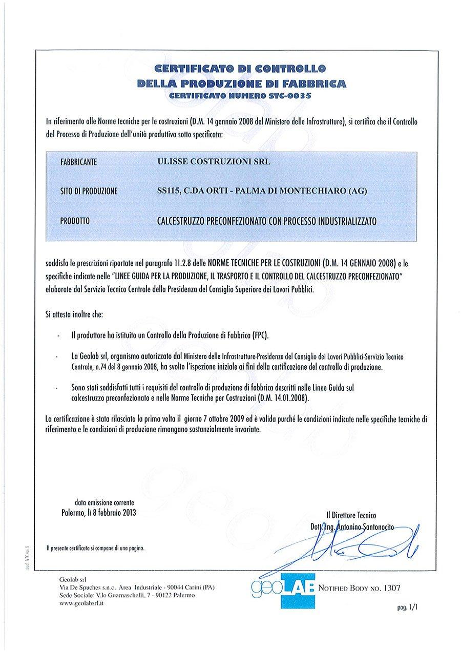 un certificato di controllo della produzione di fabbrica