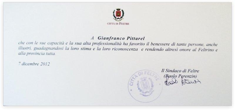 riconoscimento a gianfranco pittarel