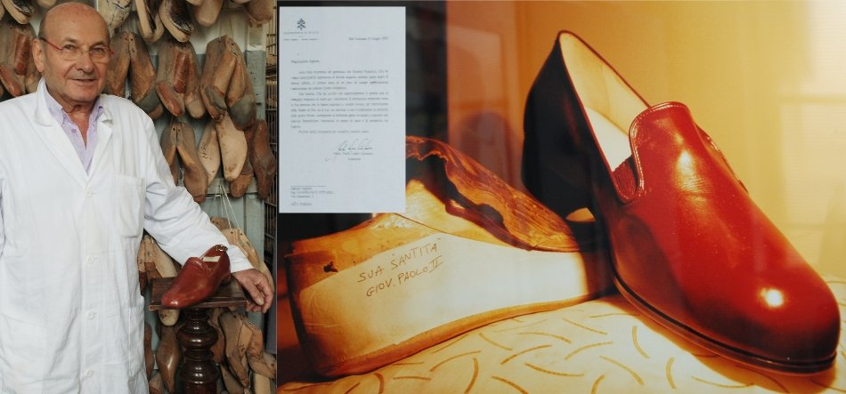 Modello delle scarpe create per Giovanni Paolo II a Torino